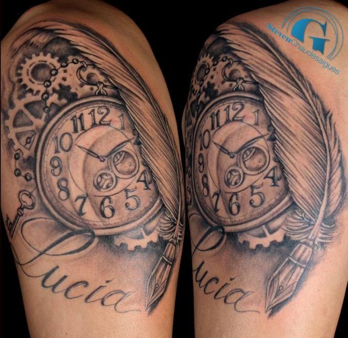 tatouage biomecanique horloge