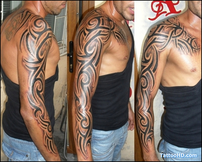 Tatouage bras complet tribal