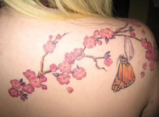 tatouage fleur cerisier japonais