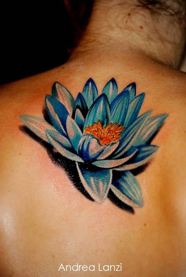 Tatouage fleur lotus bleu
