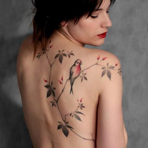 tatouage japonais oiseau