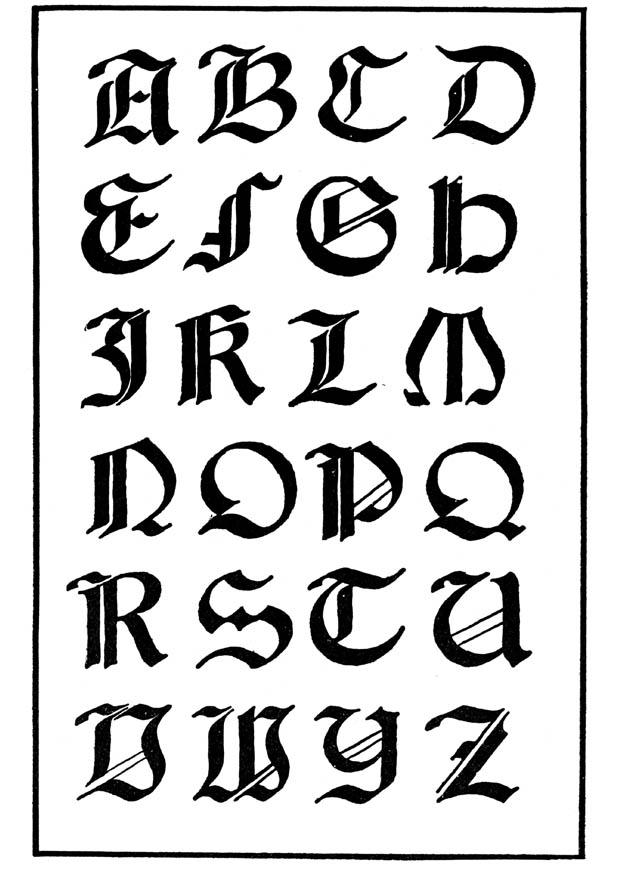 tatouage lettre alphabet gothique