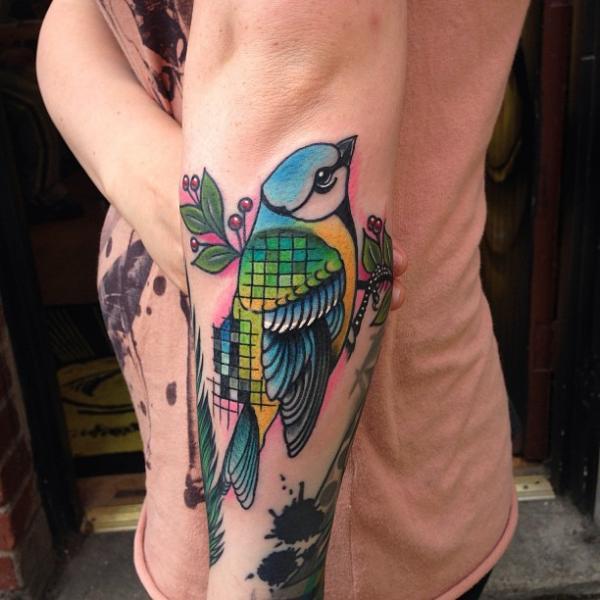 tatouage oiseau new school