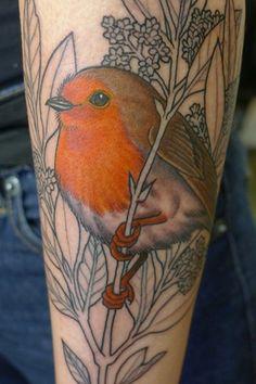Tatouage oiseau rouge gorge