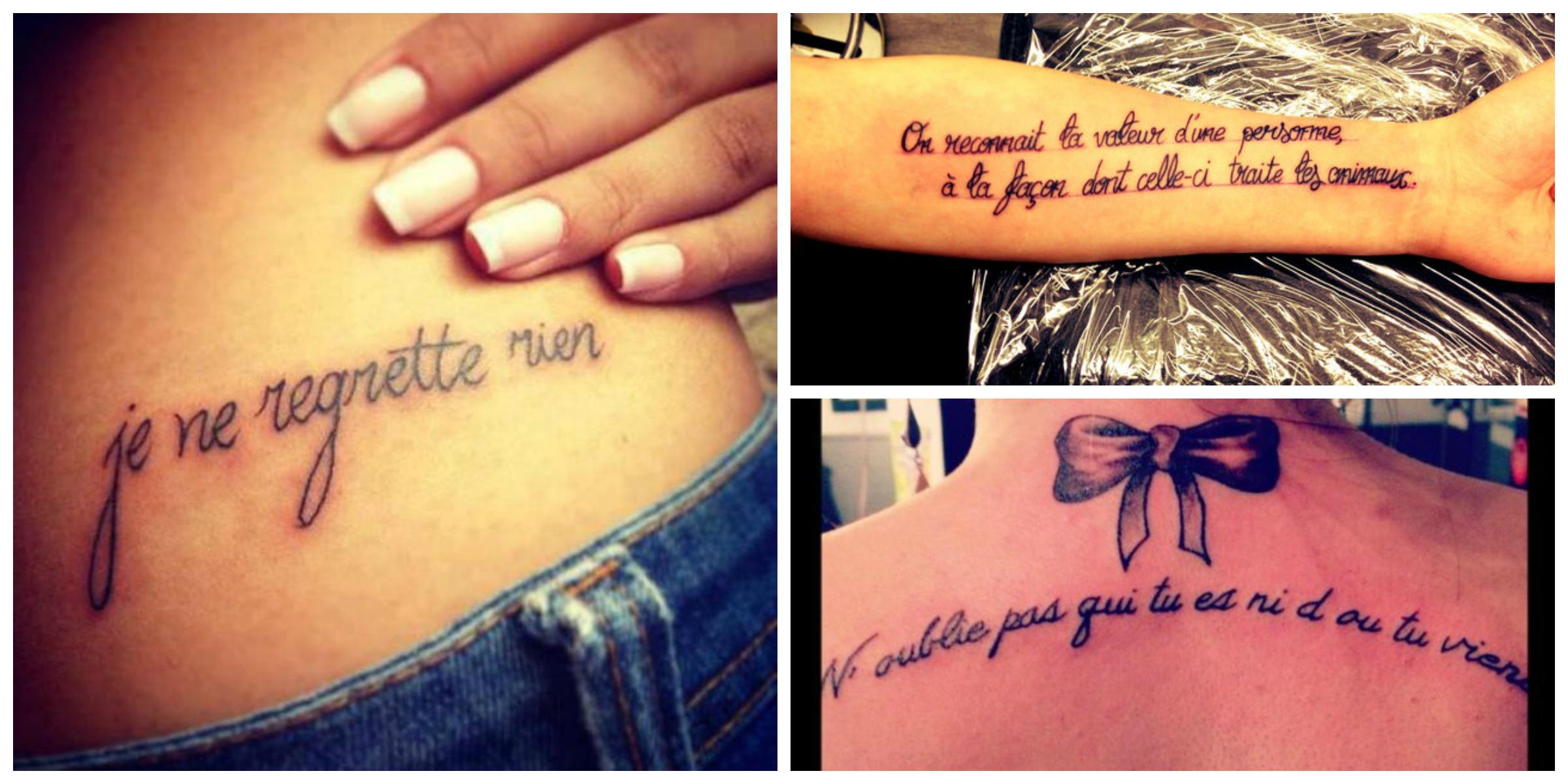 Tatouage phrase francaise femme
