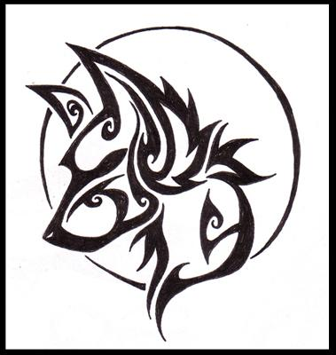 tatouage tribal loup